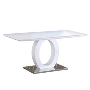 Masă dining, alb extra lucios HG/oţel, ZARNI