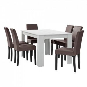 Masa eleganta Cleo 1 - MDF furniruit, alb, 140 x 90 cm - cu 6 scaune imitataie de piele, maro, cu picioare negre - P51966400