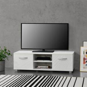 Masa televizor Laugar W, 120 x 40 x 38 cm, Pal melaminat, alb/alb extra lucios - P69638643