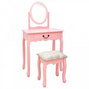 Masa toaleta cu taburet, roz, 65x36x128 cm, lemn paulownia, MDF - V289331V