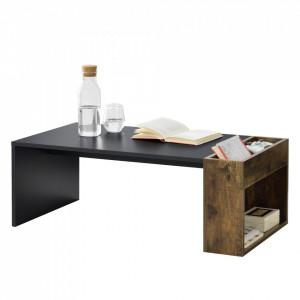 Masuta cafea Hallsberg, 34 x 95 x 50 cm, PAL melaminat, negru / culoarea lemnului de stejar cu compartimente depozitare - P73294036