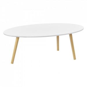 Masuta cafea Viborg W, 109,5 x 59,5 x 39,5 cm, MDF/lemn/PVC, alb/efect lemn - P73603584