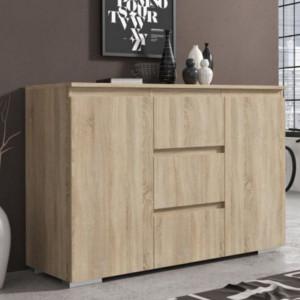 MBCO1 - Comoda 120 cm, cu 3 sertare si 2 dulapuri pentru dormitor, living, dining - Alba, Maro, Sonoma