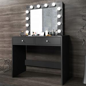 MBMT1 - Set Masa toaleta, 100cm cosmetica machiaj oglinda masuta vanity, oglinda cu LED-uri - Alb, Sonoma sau Negru