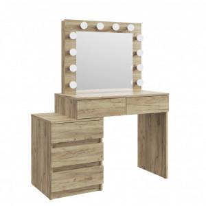 MBMTAR12 - Set Masa toaleta, 112 cm, cosmetica machiaj, masuta vanity, oglinda cu LED-uri - Culoare Stejar