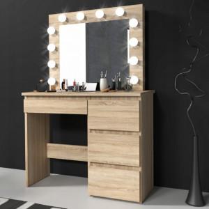 MBMTS2 - Set Masa toaleta, 94 cm cosmetica machiaj oglinda masuta vanity, oglinda cu LED-uri - Sonoma