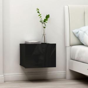 Noptiere, 2 buc., negru extralucios, 40 x 30 x 30 cm, PAL - V801068V