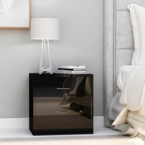 Noptiere, 2 buc., negru extralucios, 40 x 30 x 40 cm, PAL - V801050V