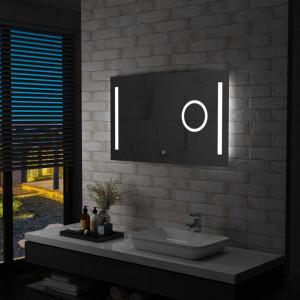 Oglinda cu LED de perete de baie cu senzor tactil, 100 x 60 cm - V144741V