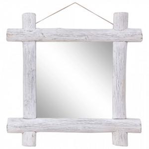 Oglinda cu rama din busteni alb 70 x 70 cm lemn masiv reciclat - V283932V