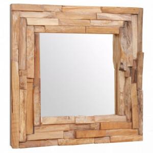 Oglinda decorativa din lemn de tec, 60 x 60 cm, patrat - V244562V