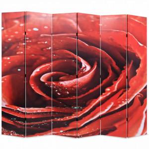 Paravan de camera pliabil, 228 x 170 cm, trandafir rosu - V245896V