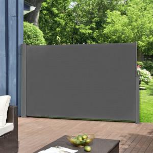Paravan solar gradina,retractabil, protectie vizuala, 300 x 160 cm, otel sinterizat/poliester, gri - P56718027