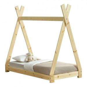 Pat copii Indira 1, 148 x 76 x 140 cm, material design lemn de brad, culoare brad natur - P57820282