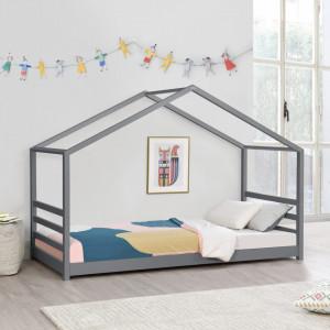 Pat copii Vardo DG90, 206 x 98 x 142 cm, lemn/furnir, gri inchis mat lacuit - P71303288