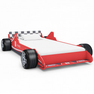 Pat pentru copii masina de curse, rosu, 90 x 200 cm - V245660V