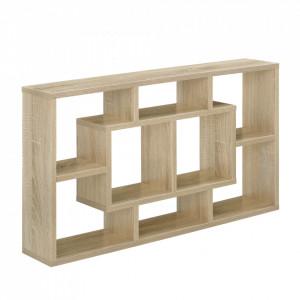 Raft de perete design, 85 x 47,5 x 16 cm, lemn/melamina, culoarea lemnului - P56817812