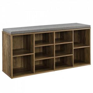 Raft Larina pentru incaltaminte,103 x 30 x 48 cm, PAL, culoarea lemnului/gri, cu 10 compartimente depozitare, cu perna pentru sezut - P65373533