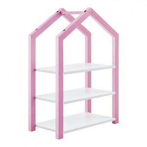 Raft pentru copii Mayen R, 85 x 60 x 30 cm, lemn/MDF, roz/alb mat lacuit - P71354187