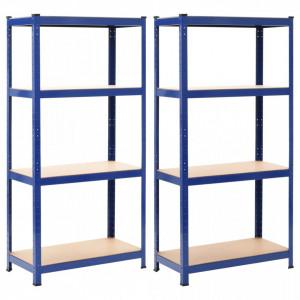 Rafturi depozitare, 2 buc., albastru, 80x40x160cm, otel si MDF - V144274V
