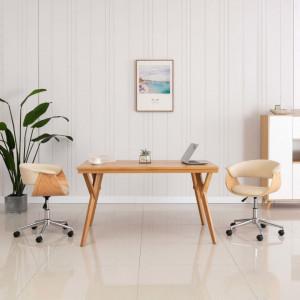 Scaun de birou pivotant, crem, lemn curbat si piele ecologica - V3054832V
