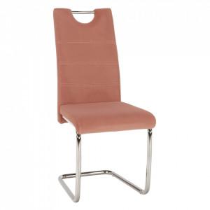 Scaun de luat masa, ţesătură de catifea roz / cusături deschise, ABIRA NEW