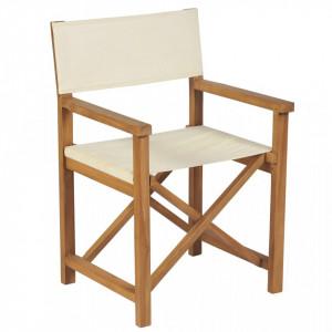 Scaun de regizor pliabil, alb crem, lemn masiv de tec - V310671V