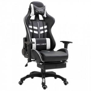 Scaun pentru jocuri cu suport picioare, alb, piele ecologica - V20205V