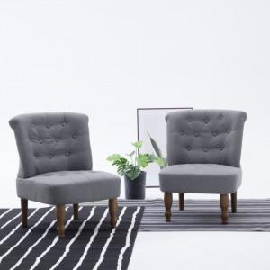 Scaun stil frantuzesc, gri deschis, material textil - V282123V