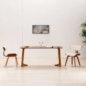 Scaune de bucatarie, 2 buc, crem, lemn curbat & piele ecologica - V283122V