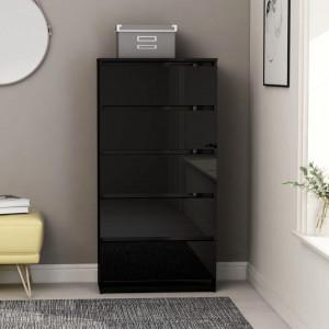Servanta cu sertare, negru extralucios, 60 x 35 x 121 cm, PAL - V801416V
