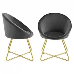 Set 2 bucati scaune bucatarie Steinkjer, 76 x 63,5 x 40 cm, catifea/otel, negru/auriu - P73254329