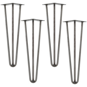 Set 4 bucati picioare Hairpin Model 4, pentru masa – 3 brate, 45 cm, argintiu - P55139995