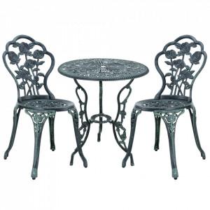 Set bistro Dina, masa rotunda 60 x 67 cm, scaun 42 x 83 cm, metal, verde - P41048588