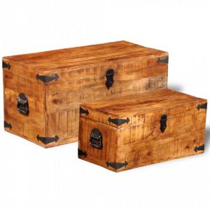Set cufere de depozitare, 2 piese, lemn mango nefinisat - V241634V