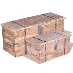 Set de doua cufere de depozitare din lemn de acacia - V244054V