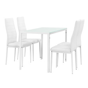 Set design masa de bucatarie/salon Hamburg, , 105 x 60 cm, 4 scaune, otel, sticla, imitatie piele, alb - P54457286