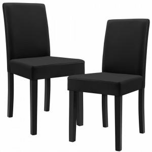 Set Dorina 2 scaune bucatarie, 90 x 42 cm, piele sintetica, forma sezut trapezoidala, negru - P46253636