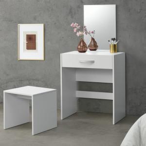 Set masa de toaleta/machiaj cu oglinda si scaun Reykjavik W, 132 x 63 x 39 cm, PAL melaminat, alb - P69638631