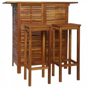 Set masa si scaune de bar, 3 buc., lemn masiv de salcam - V44008V