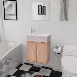Set mobilier baie format din 3 piese cu chiuveta inclusa, Bej - V272228V