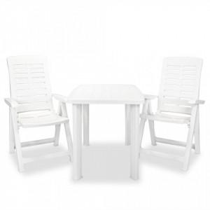 Set mobilier bistro, 3 piese, alb, plastic - V275073V