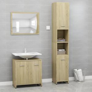 Set mobilier de baie, 3 piese, stejar Sonoma, PAL - V3056919V