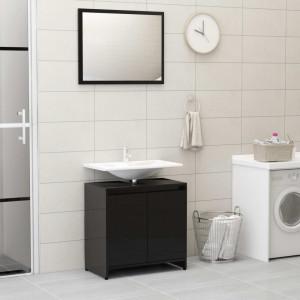 Set mobilier de baie, negru extralucios, PAL - V802658V