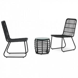 Set mobilier de bistro, 3 piese, negru, poliratan - V48585V