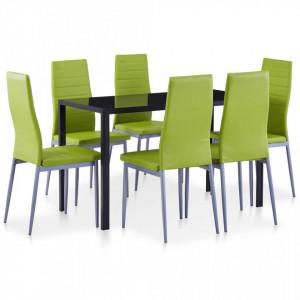 Set mobilier de bucatarie, 7 piese, verde - V281706V