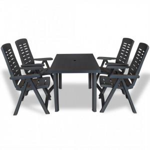Set mobilier de exterior, 5 piese, antracit, plastic - V275084V