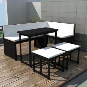 Set mobilier de exterior, 5 piese, negru, otel si poliratan - V42880V
