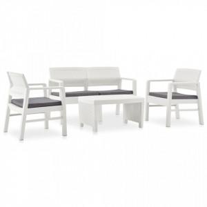 Set mobilier de gradina cu perne, 4 piese, alb, plastic - V3052964V