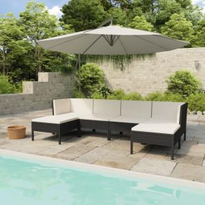 Set mobilier de gradina cu perne, 6 piese, negru, poliratan - V3056962V
